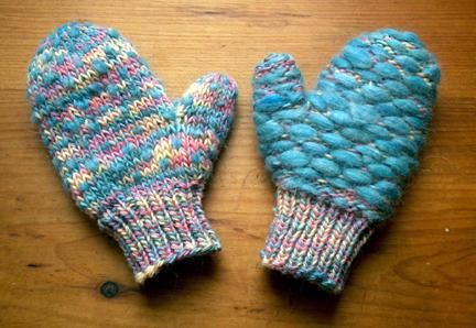 angora stuffed mittens